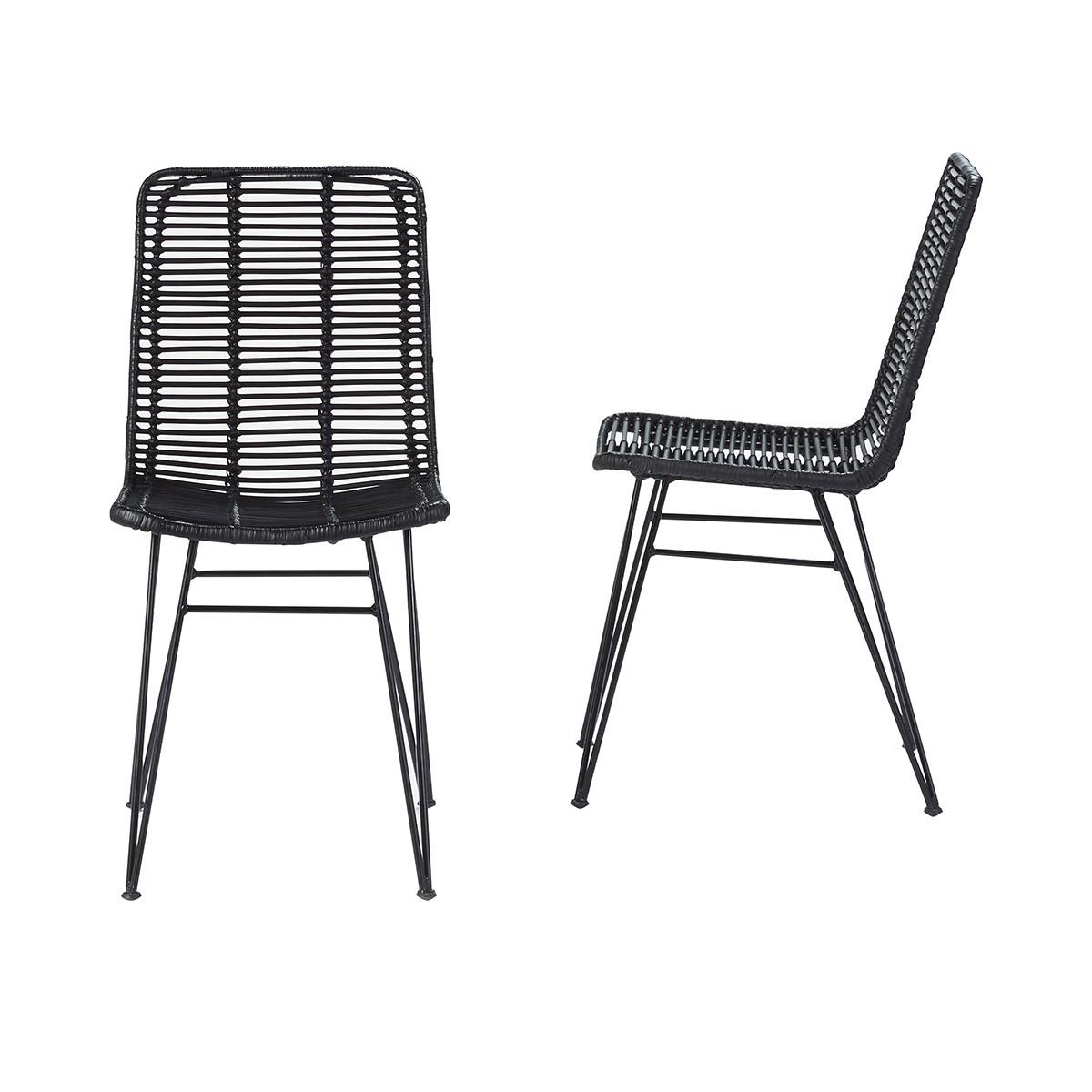Lot de 2 chaises en rotin et métal noires