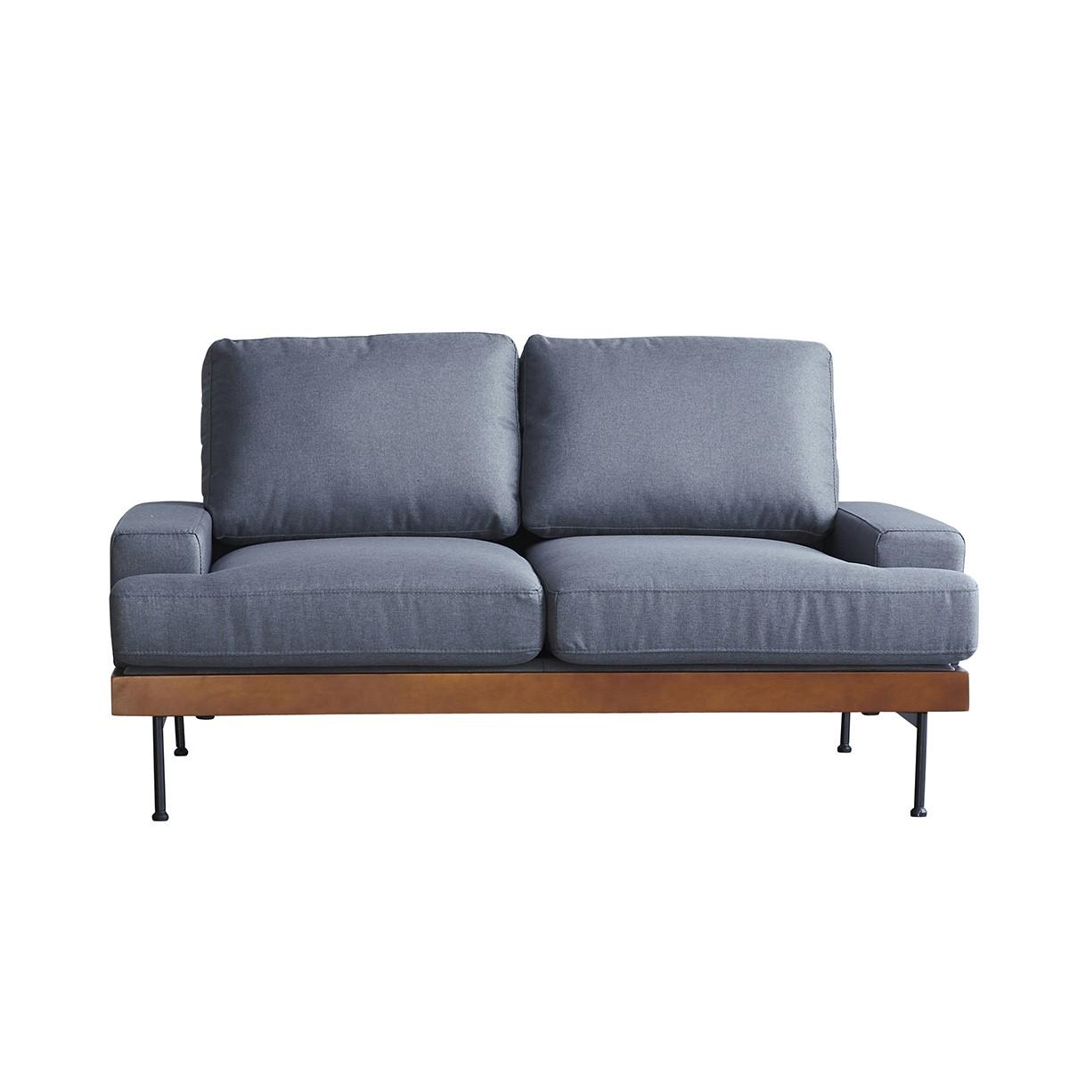Canapé droit 2 places Gris Tissu