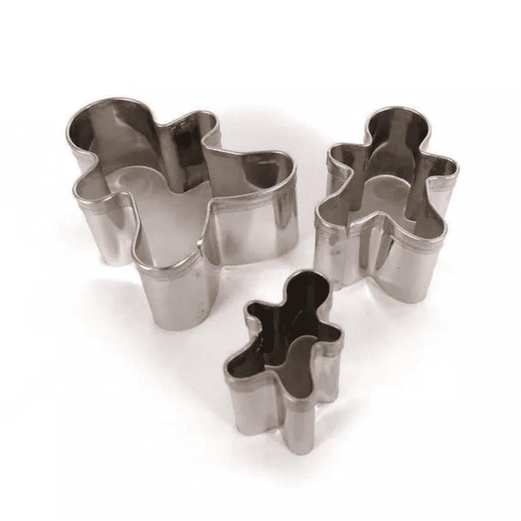 3 mini emporte-pièces bonhomme en pain d'épices inox