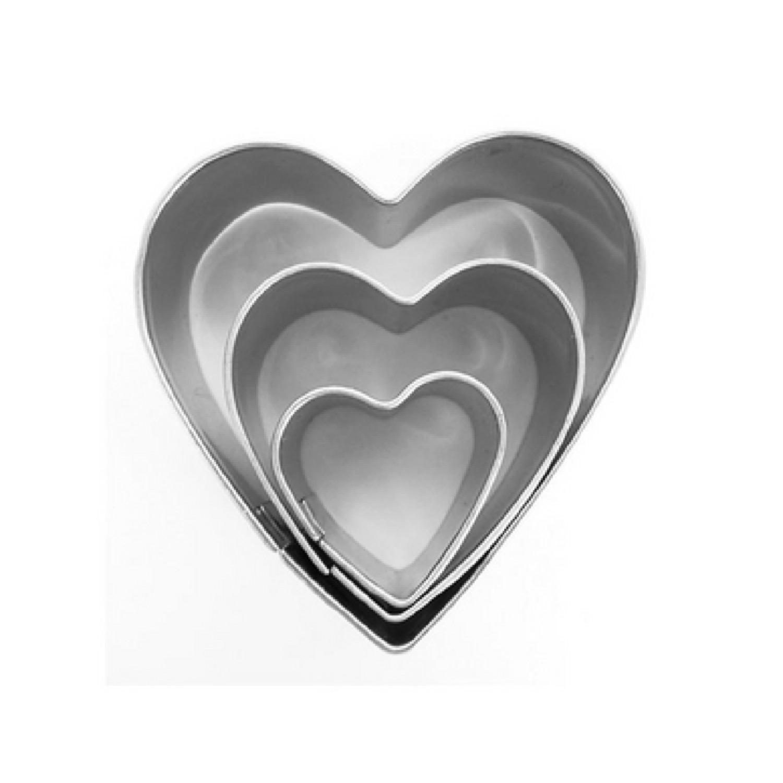 3 mini emporte-pièces coeurs en inox