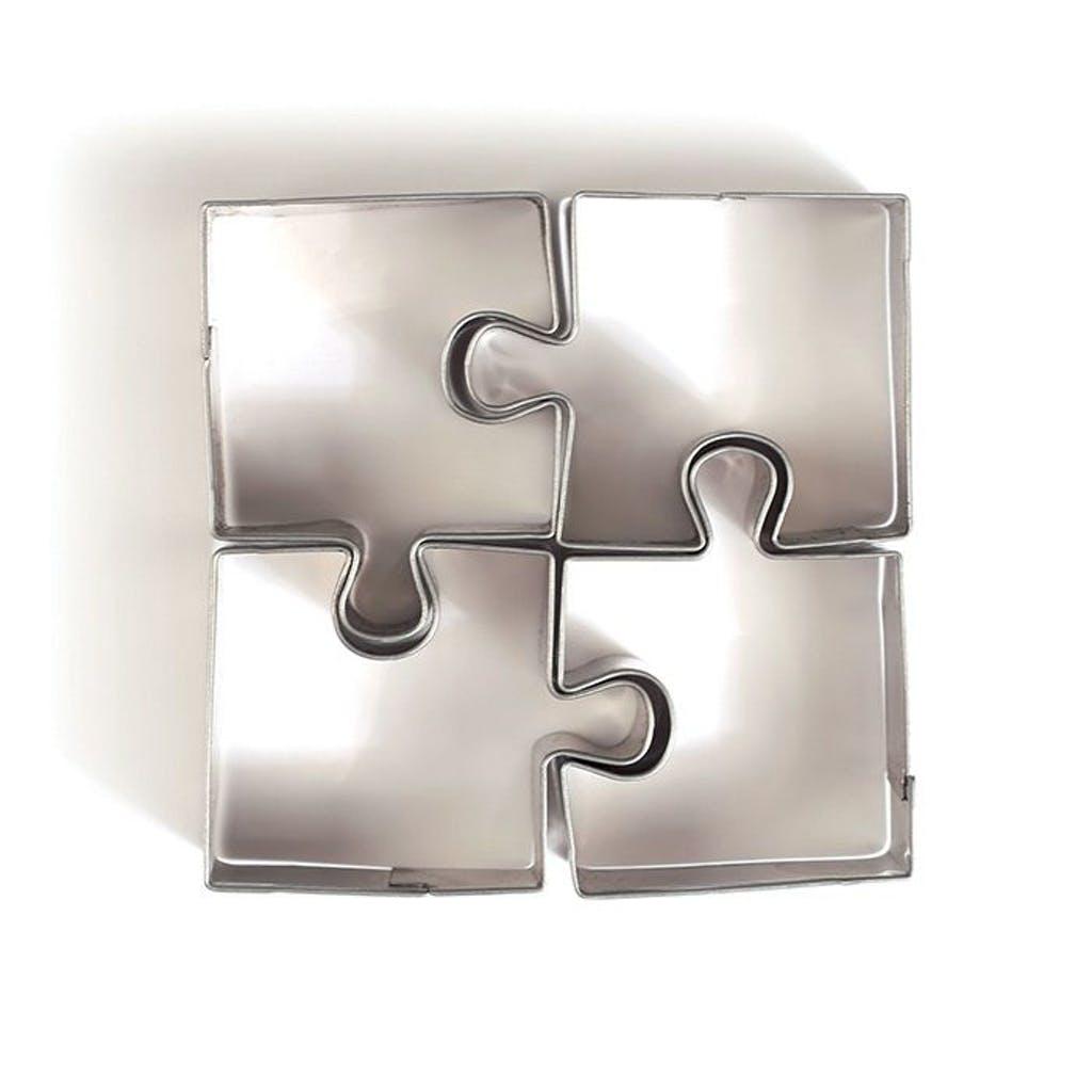 4 mini emporte-pièces puzzle en inox