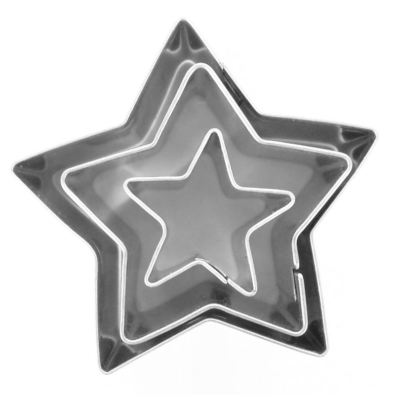 3 mini emporte-pièces étoiles en inox