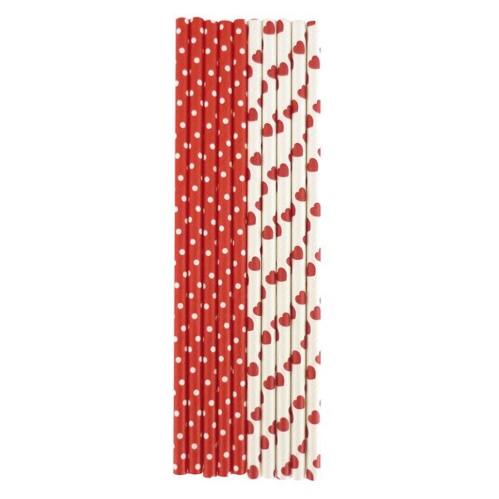 25 pailles rouges en papier