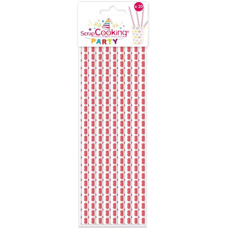 20 pailles papier cœurs roses