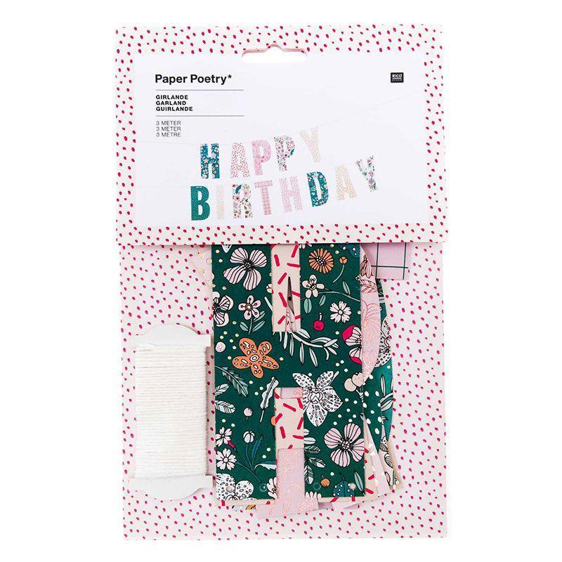 Guirlande happy birthday thème floral 3m