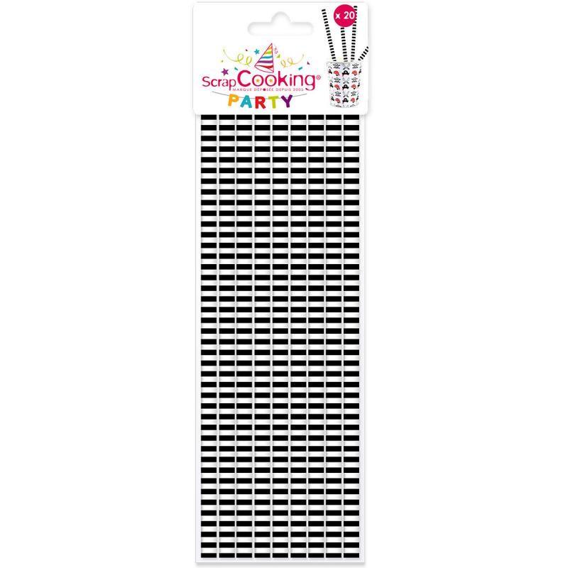 20 pailles papier rayures noires & blanches