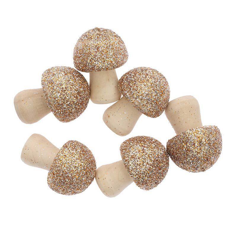6 champignons en bois pailletés dorés