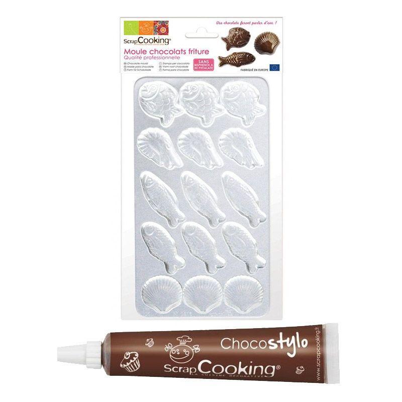 Moule rigide pour fritures en chocolat + 1 stylo chocolat offert