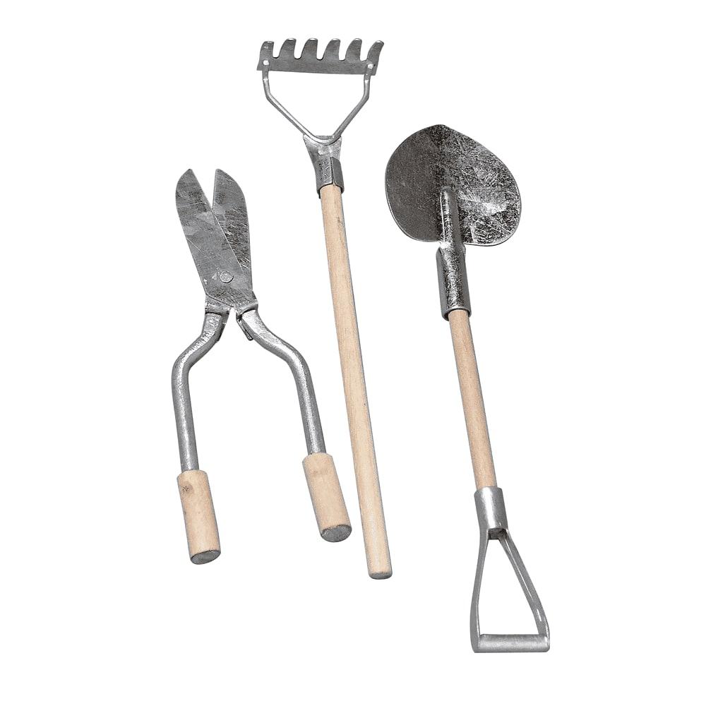 3 mini outils de jardin métal-bois 9-13cm