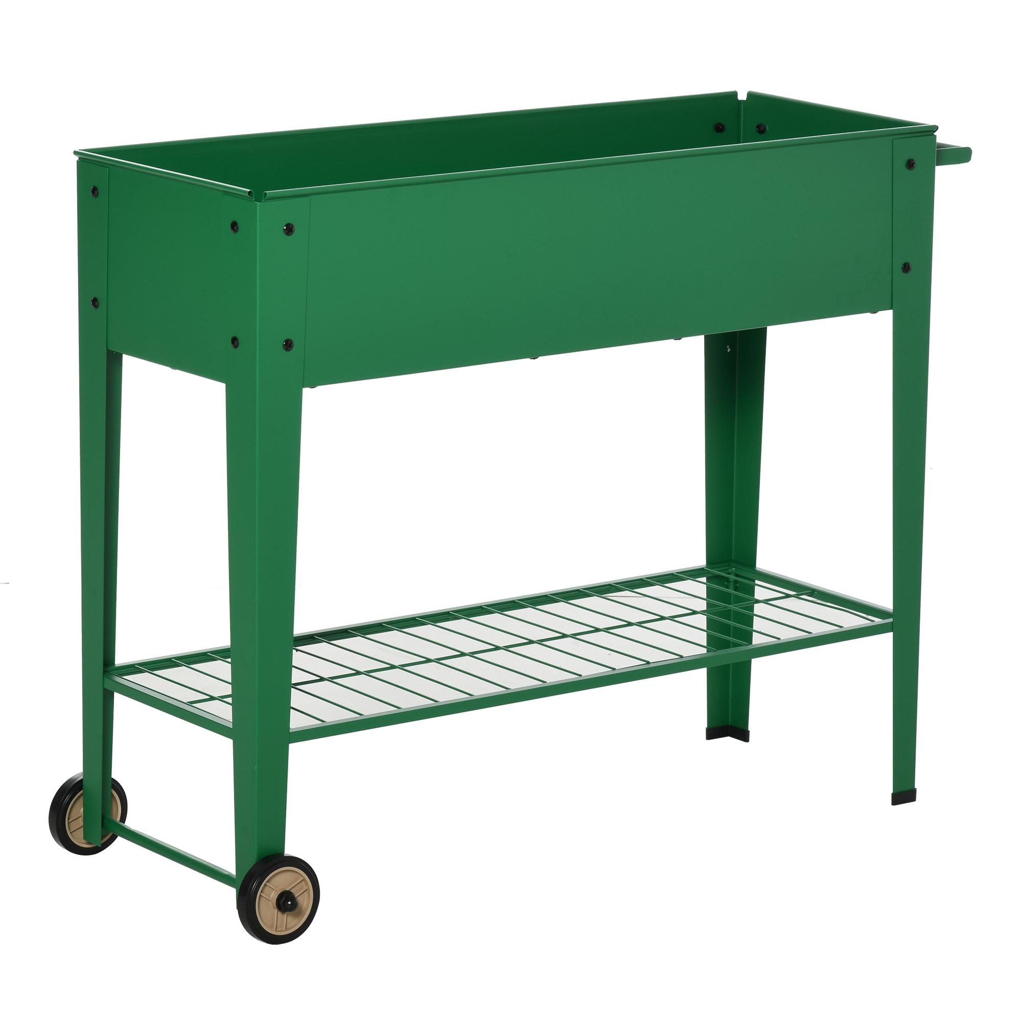 Jardinière sur pieds potager étagère 2 roues insert d'irrigation métal