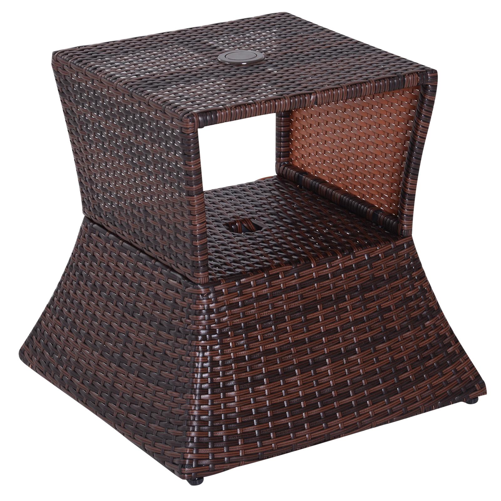 Pied de parasol table basse 2 en 1 résine tressée marron