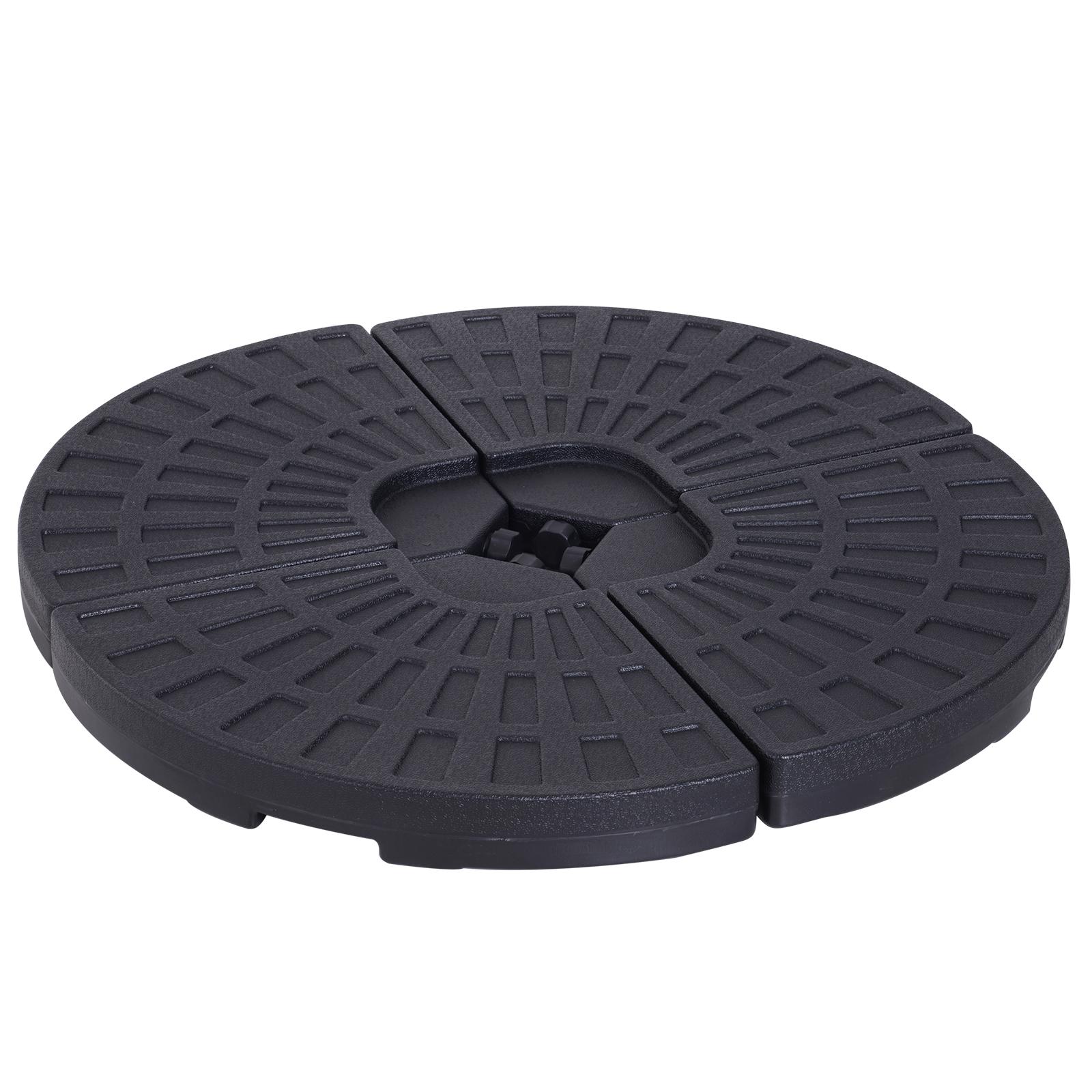 Lot de 4 poids de lestage pour parasol HDPE noir