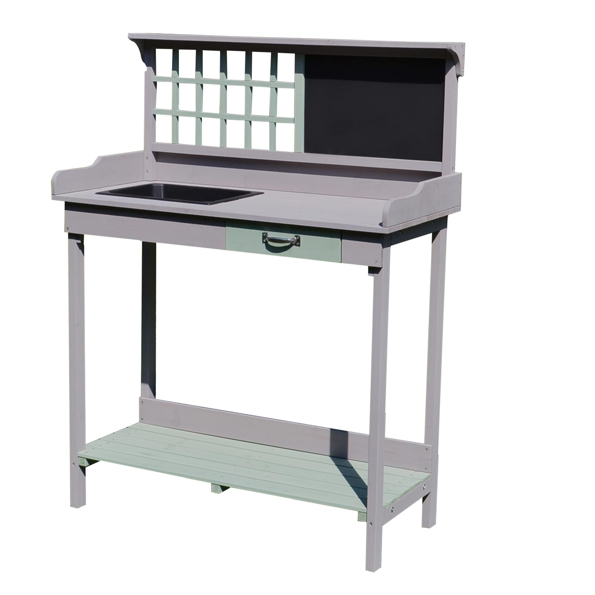 Table de rempotage multi-équipée gris vert menthe