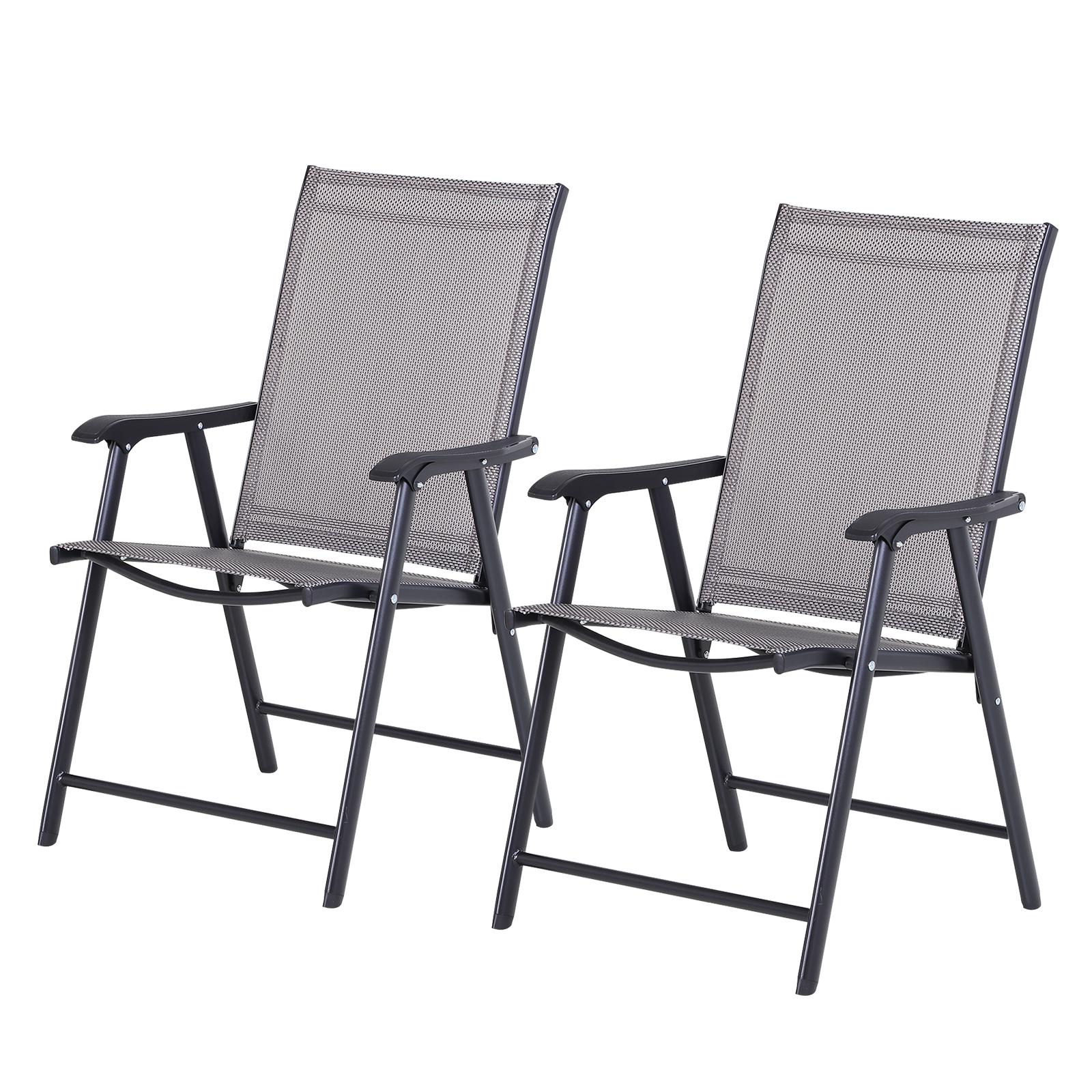 Lot 2 chaises de jardin pliantes accoudoirs métal textilène noir gris