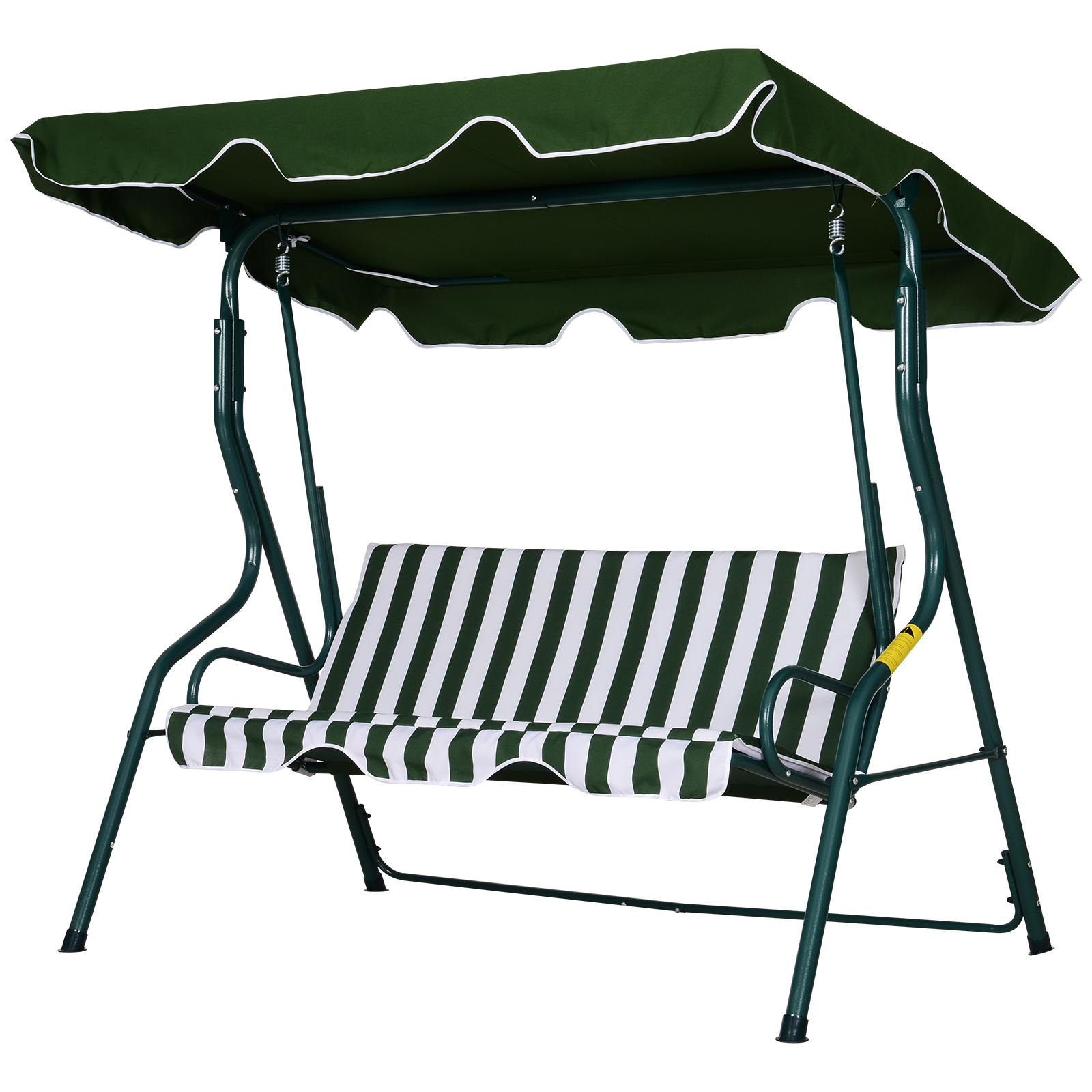 Balancelle de jardin 3 places coussins assise dossier vert blanc rayé