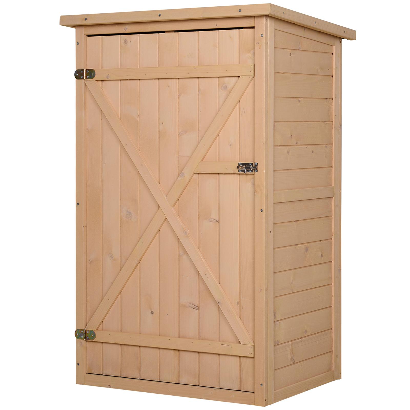 Armoire de jardin porte verrouillable 2 étagères bois sapin