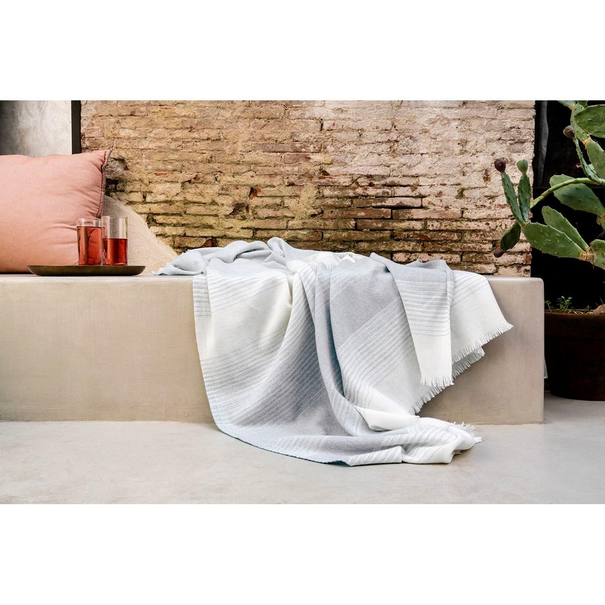 Plaid Fin Doux en Laine Beige clair 150x200 cm