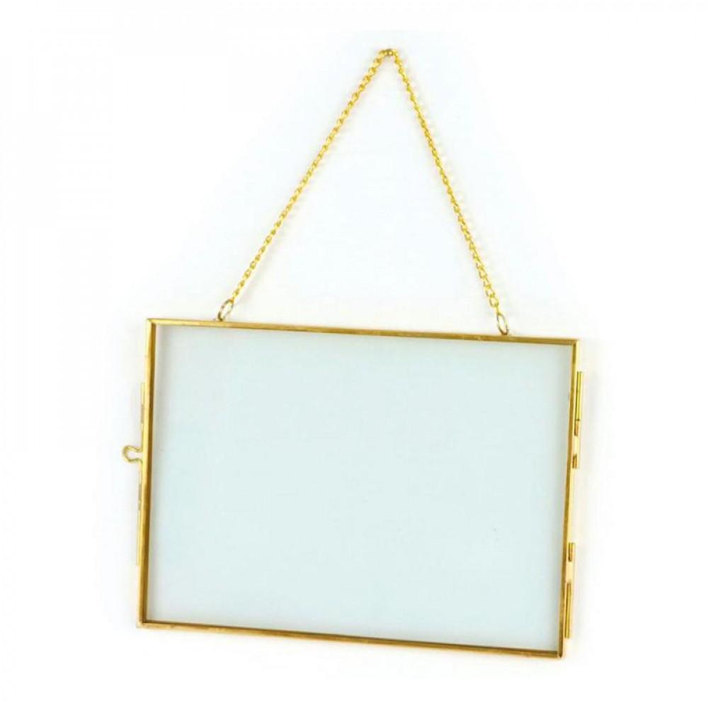 Cadre en verre vintage rectangle avec chaîne métallique 18x13cm
