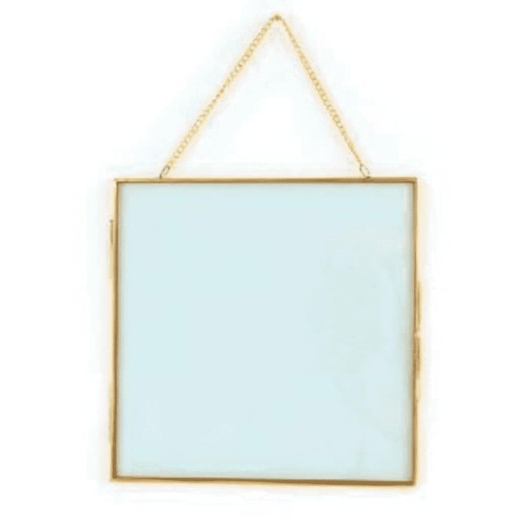 Cadre en verre vintage carré avec chaîne métallique 20x20cm
