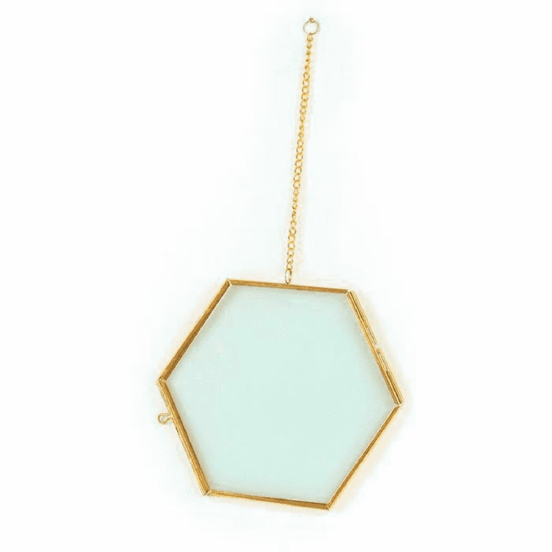 Cadre en verre vintage hexagone avec chaîne métallique 15x13cm