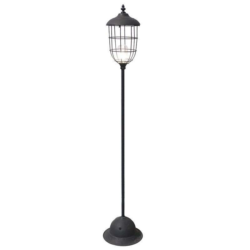 Lampadaire sur pied lanterne led piles en fer