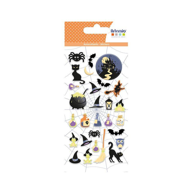 28 stickers puffies Halloween sorcière