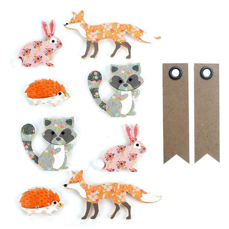 8 stickers 3D animaux de la forêt + 20 étiquettes kraft
