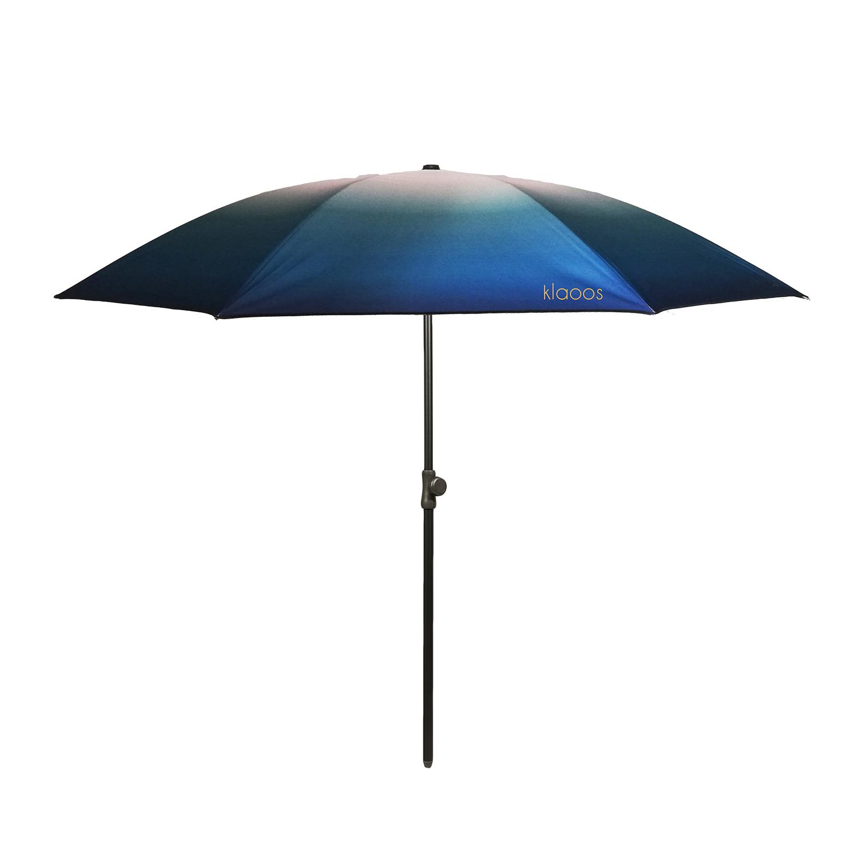 Parasol écoresponsable en toile imperméable bleu vert