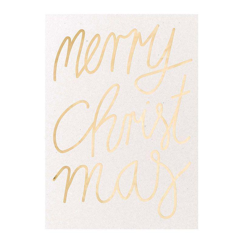 Carte postale Merry Christmas dorée