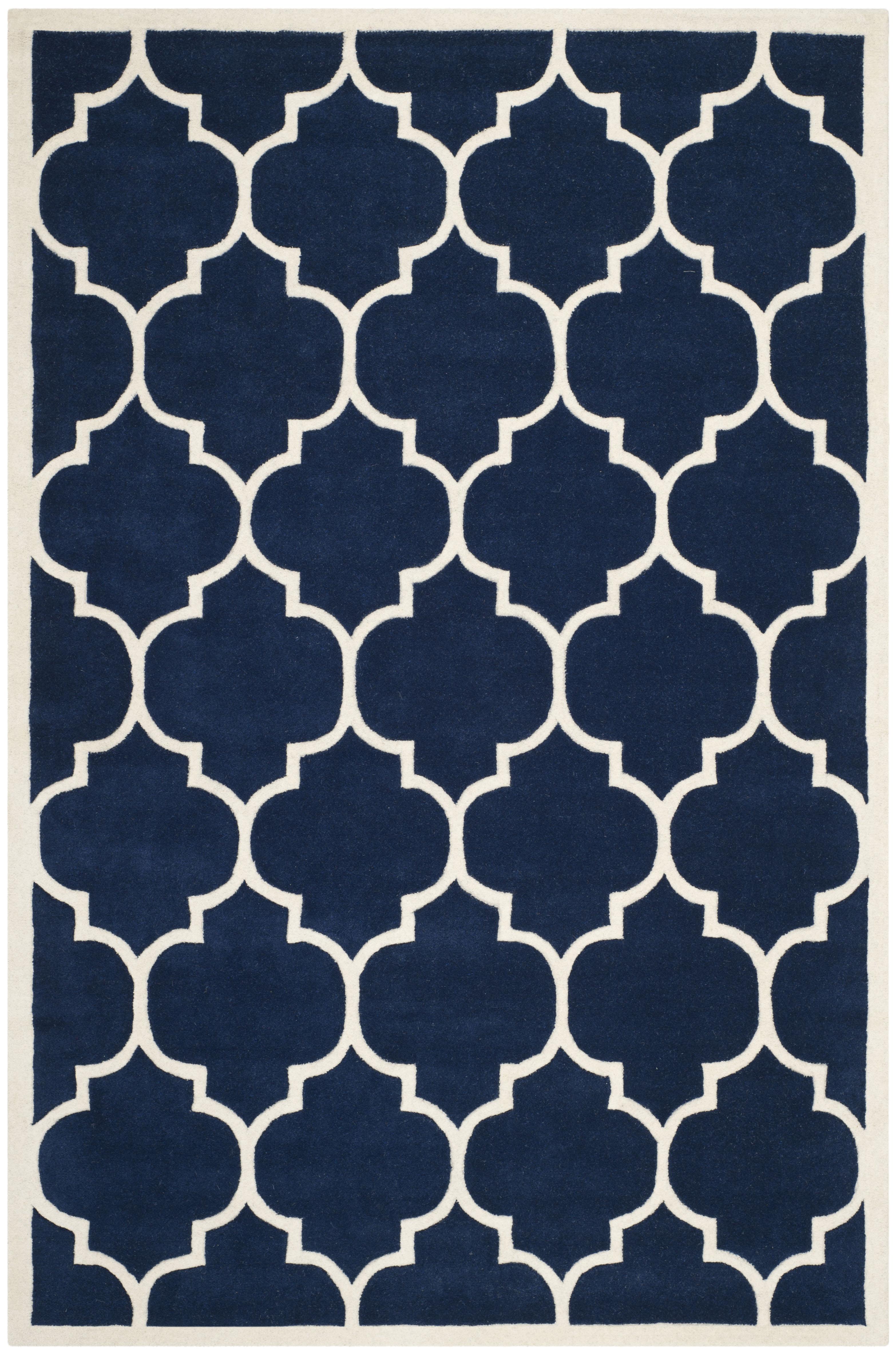 Tapis de salon moderne  bleu foncé et ivoire 152x243