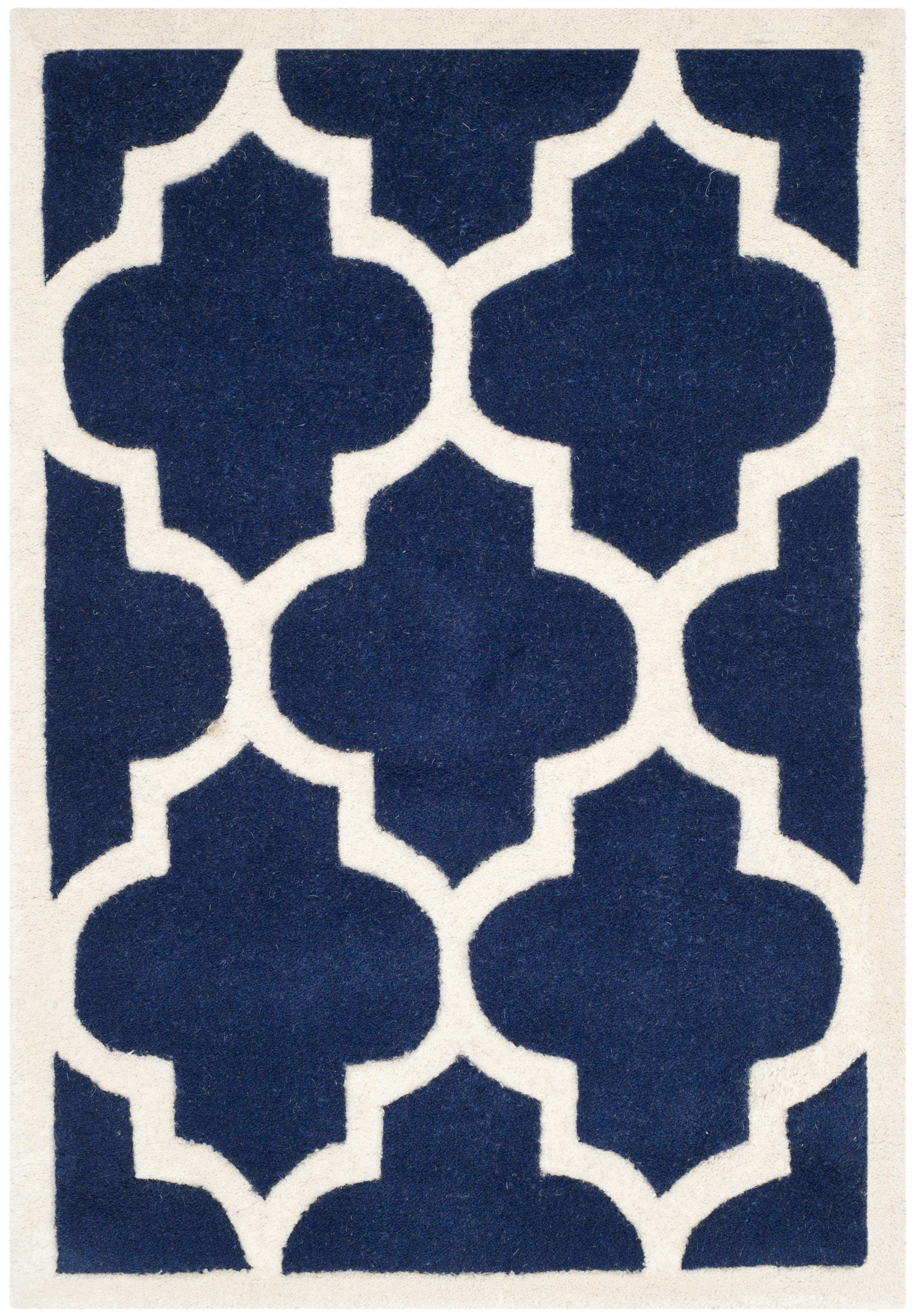 Tapis de salon moderne  bleu foncé et ivoire 91x152