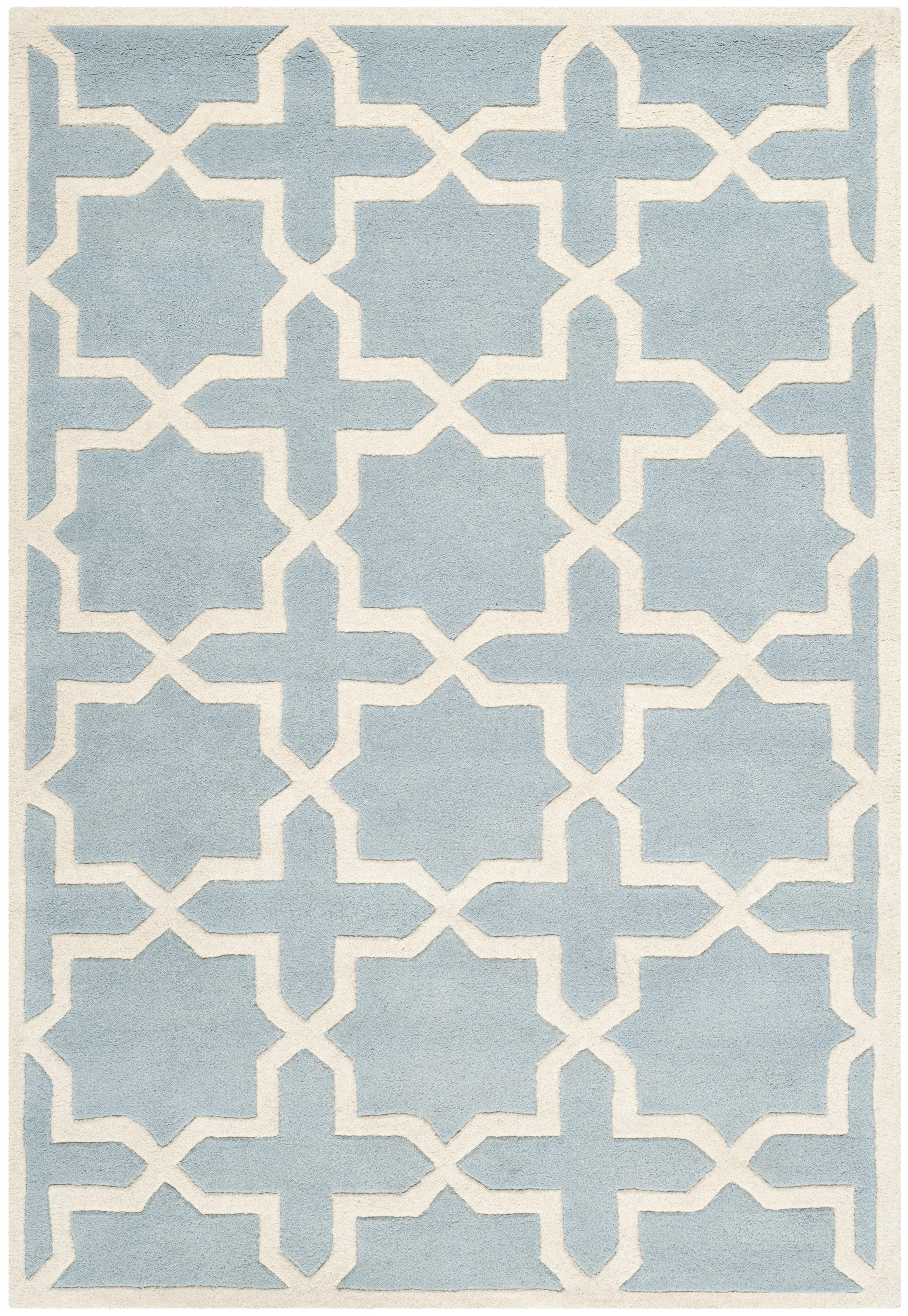 Tapis de salon moderne bleu et ivoire 121x182