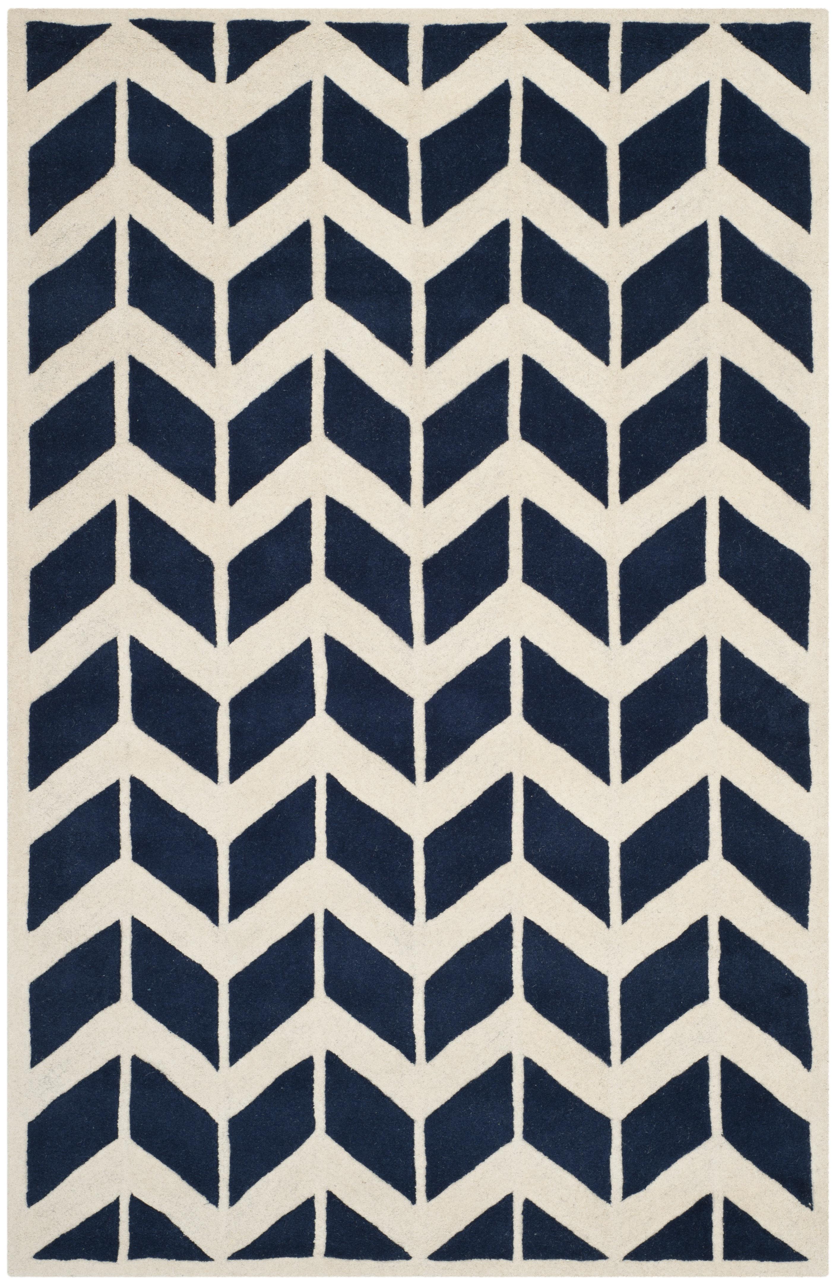 Tapis de salon moderne  bleu foncé et ivoire 182x274