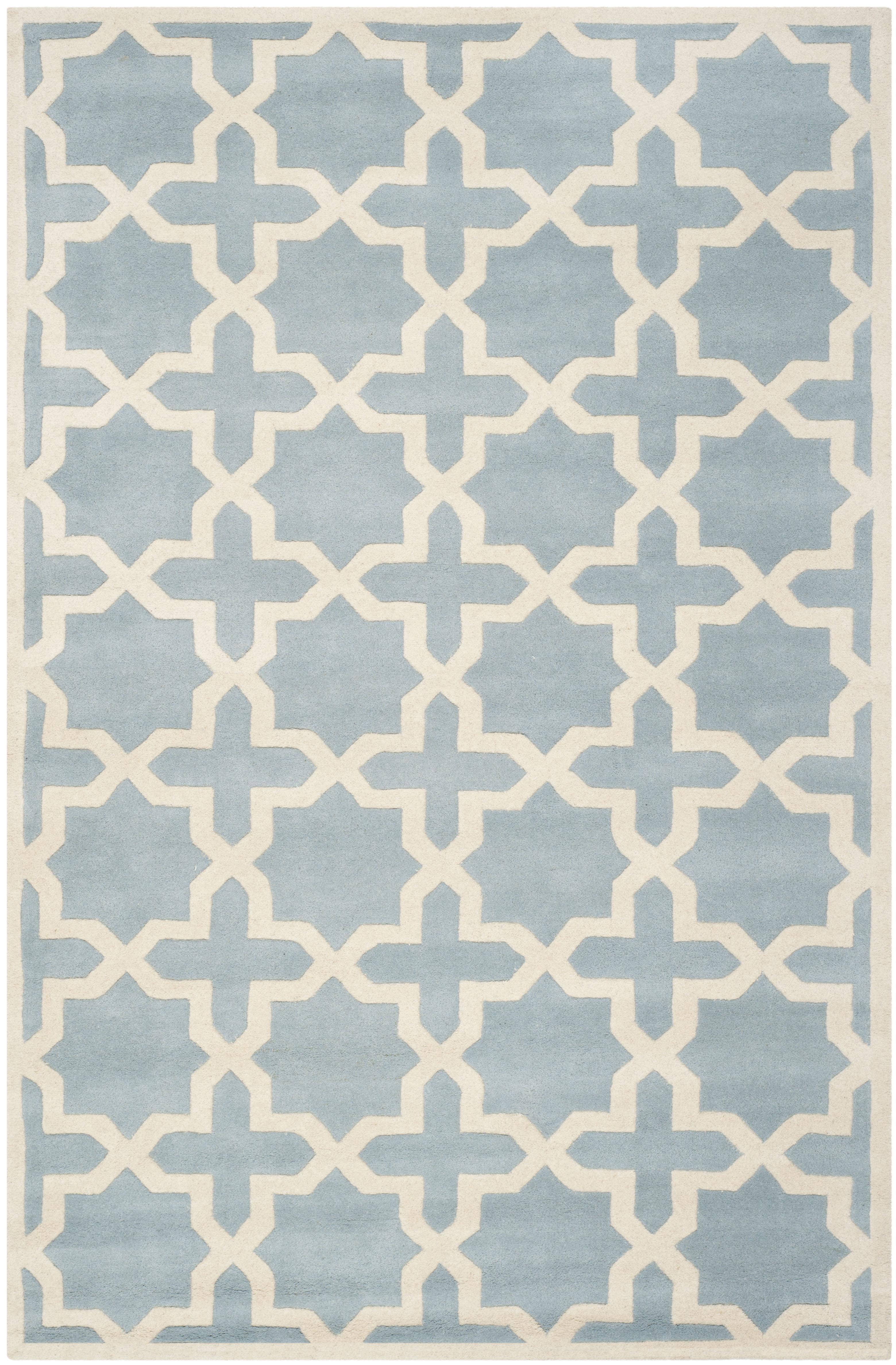 Tapis de salon moderne bleu et ivoire 182x274