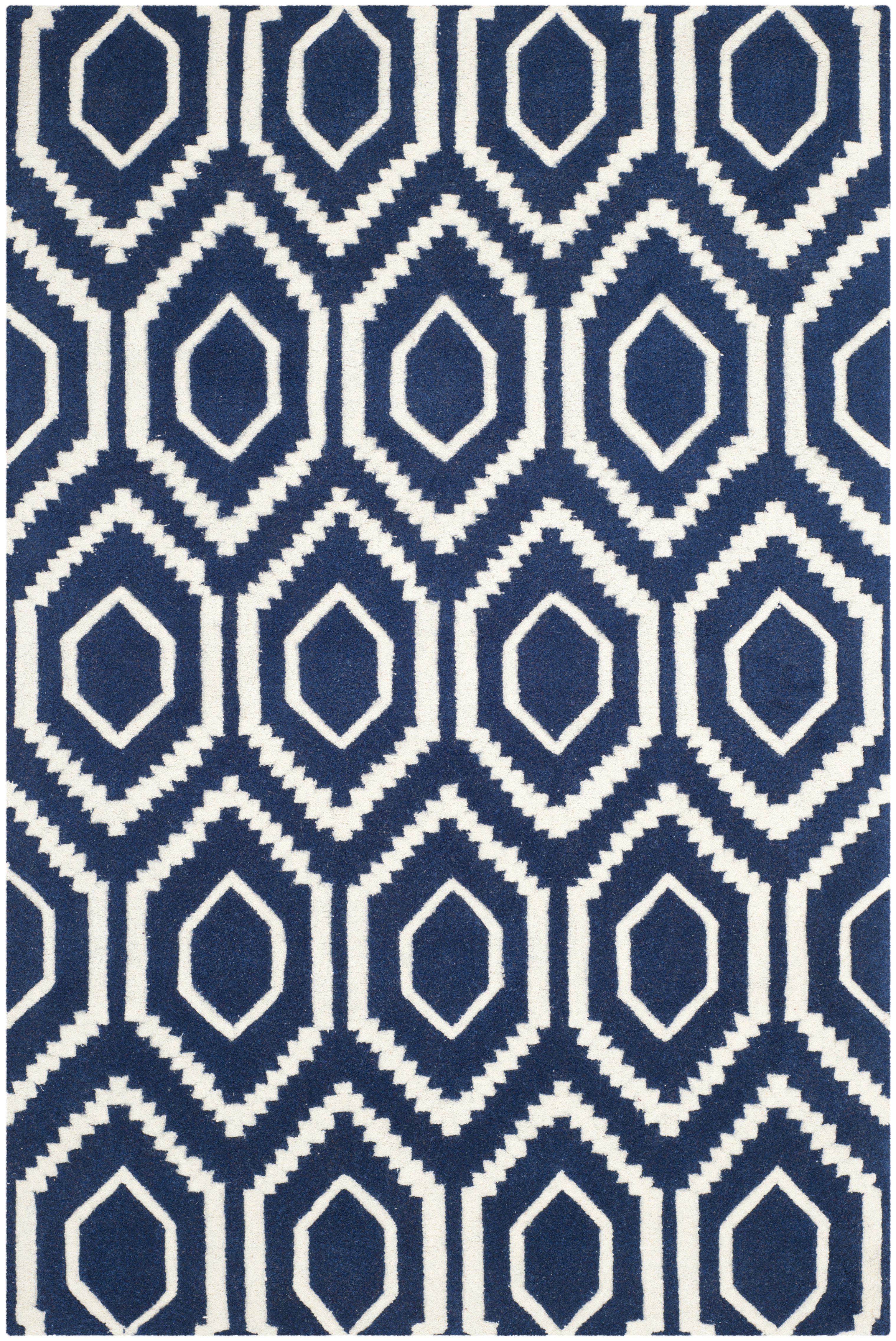Tapis de salon moderne  bleu foncé et ivoire 121x182