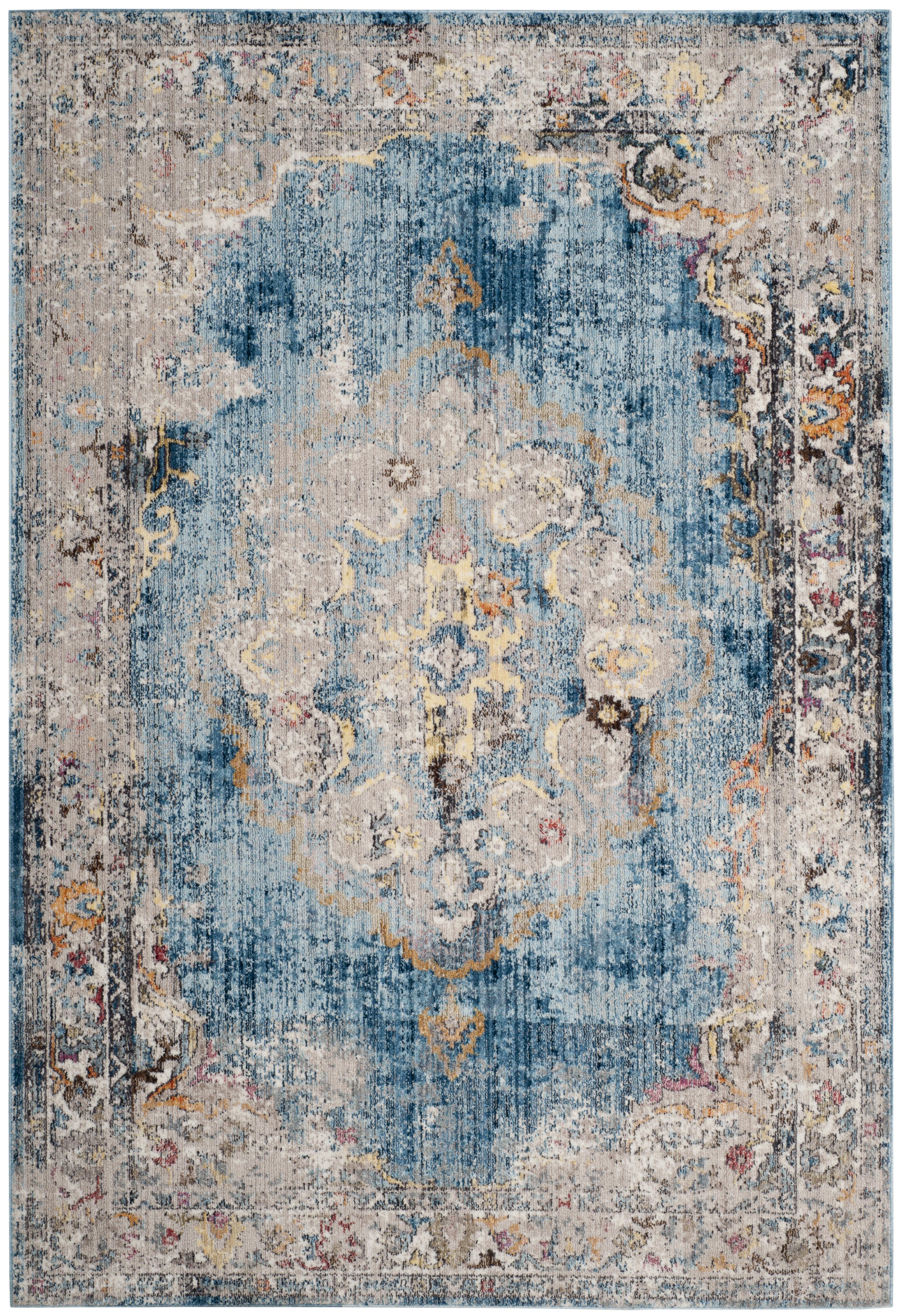 Tapis de salon d'inspiration vintage bleu et gris clair 200x300