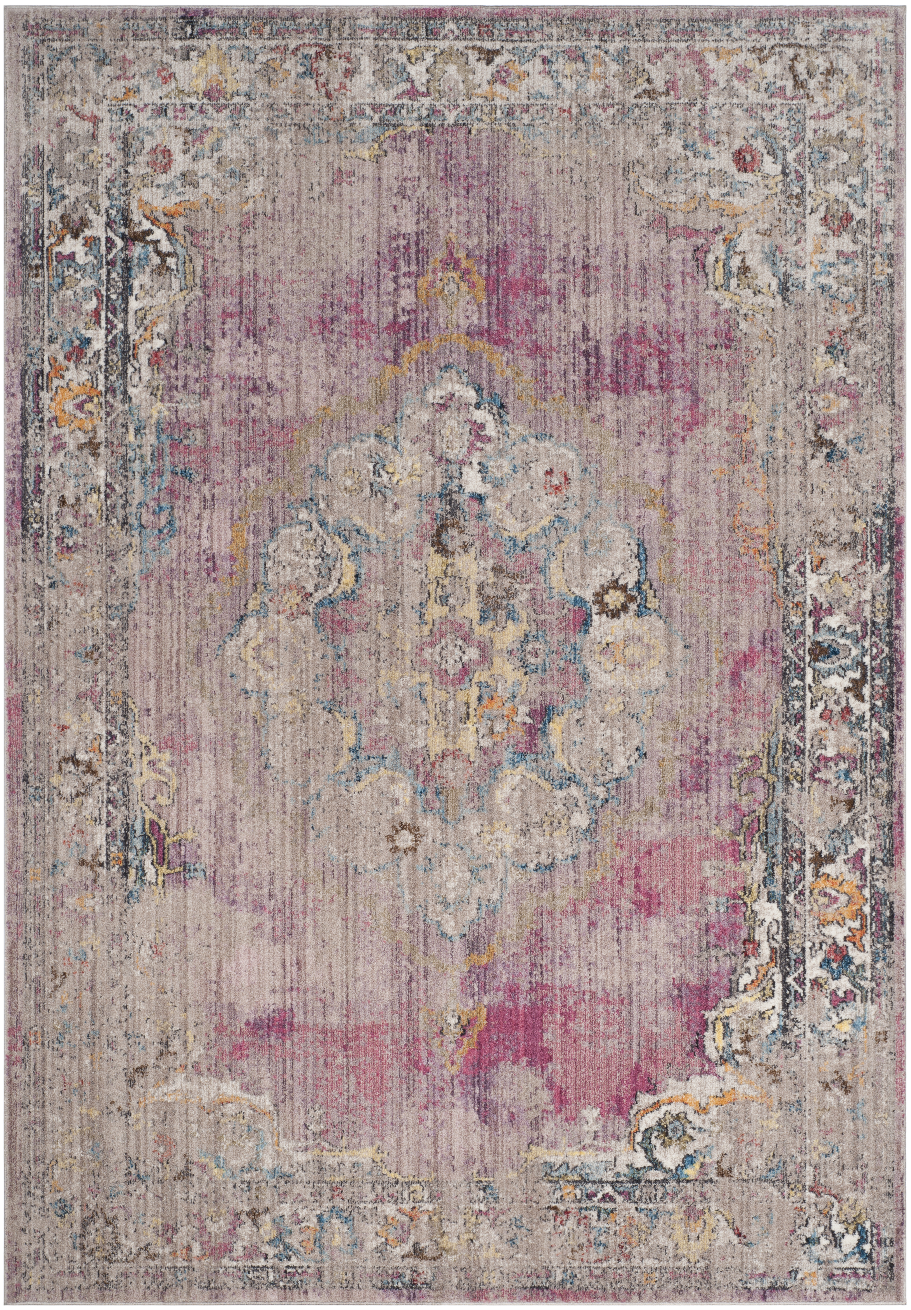 Tapis de salon d'inspiration vintage fuchsia et gris clair 160x230