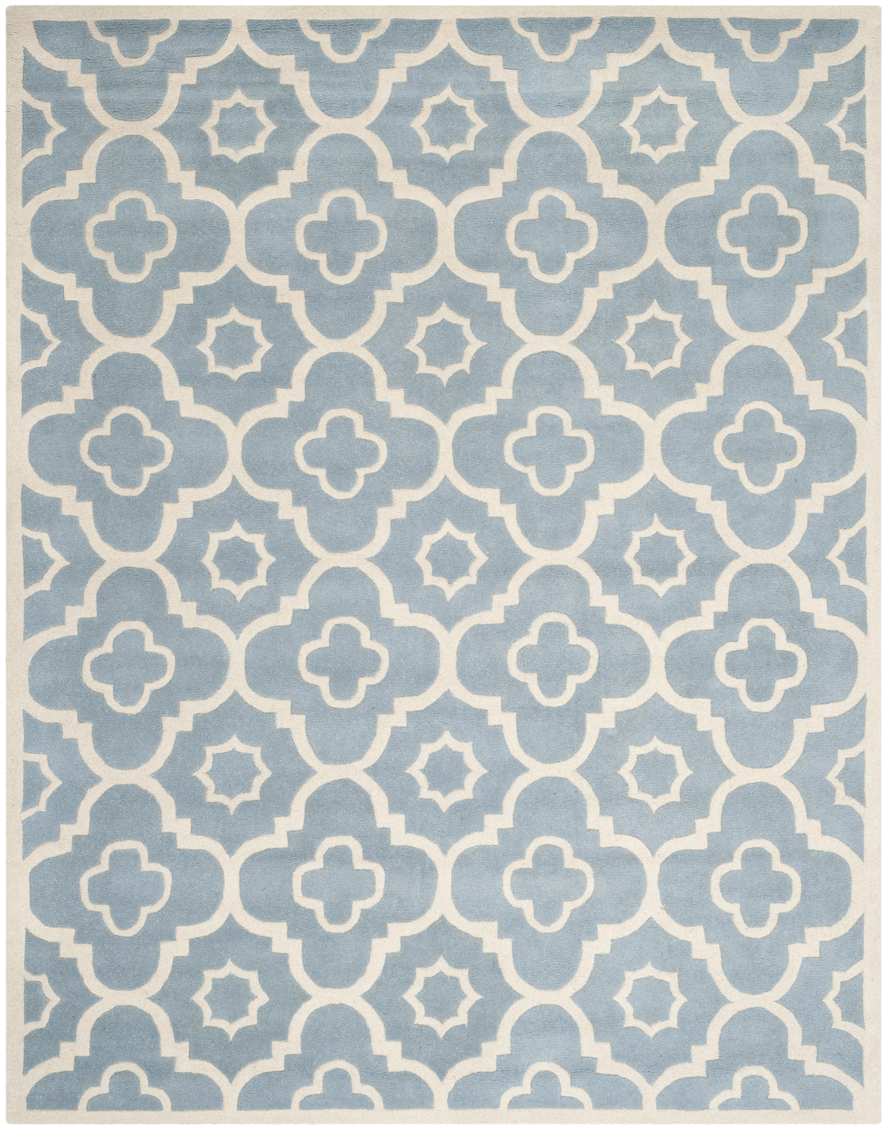 Tapis de salon moderne bleu et ivoire 152x243