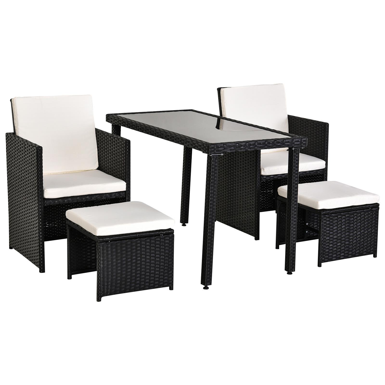 Ensemble salon jardin encastrable 2 fauteuils 2 tabourets table noir