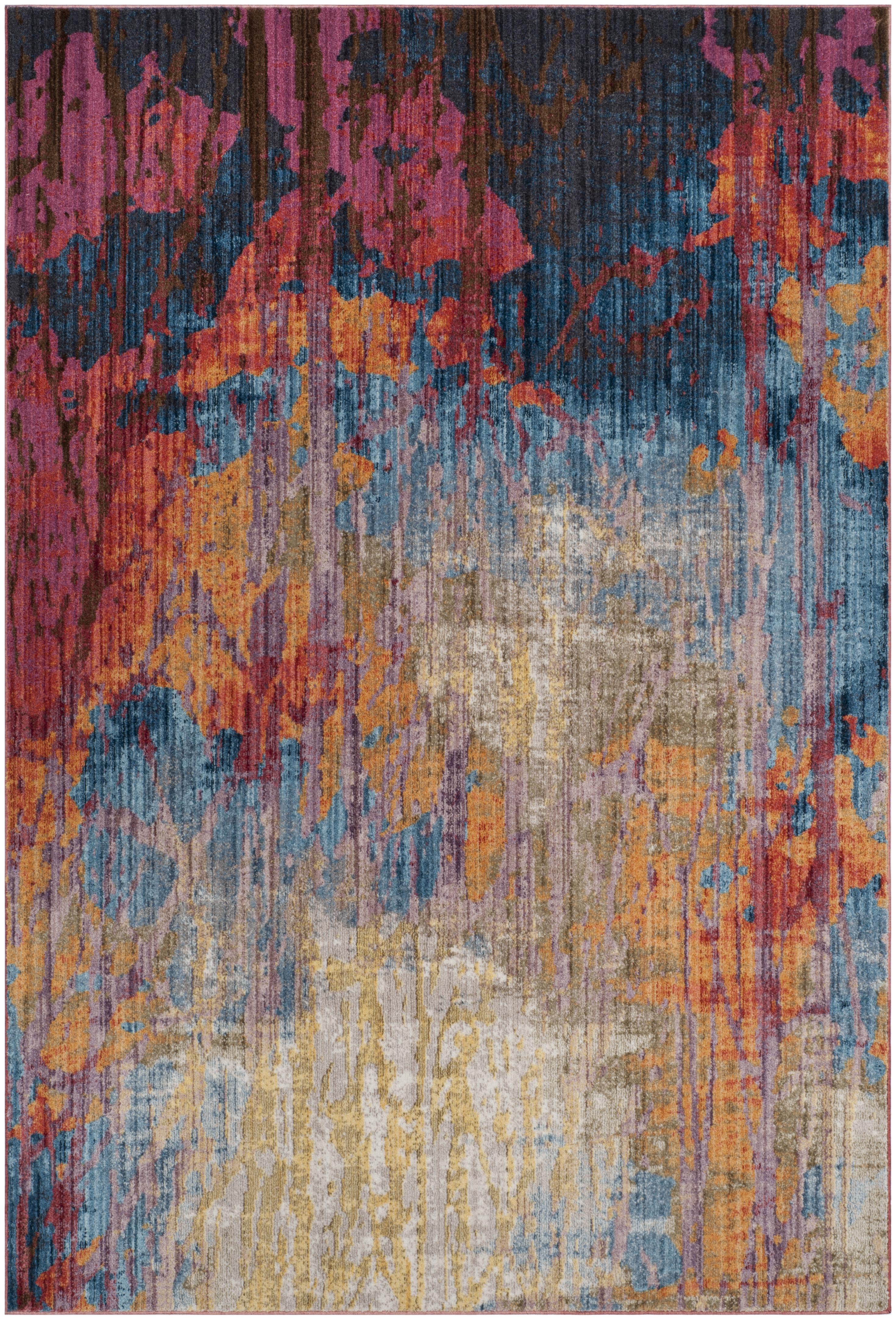 Tapis de salon d'inspiration vintage bleu et rouille 160x230