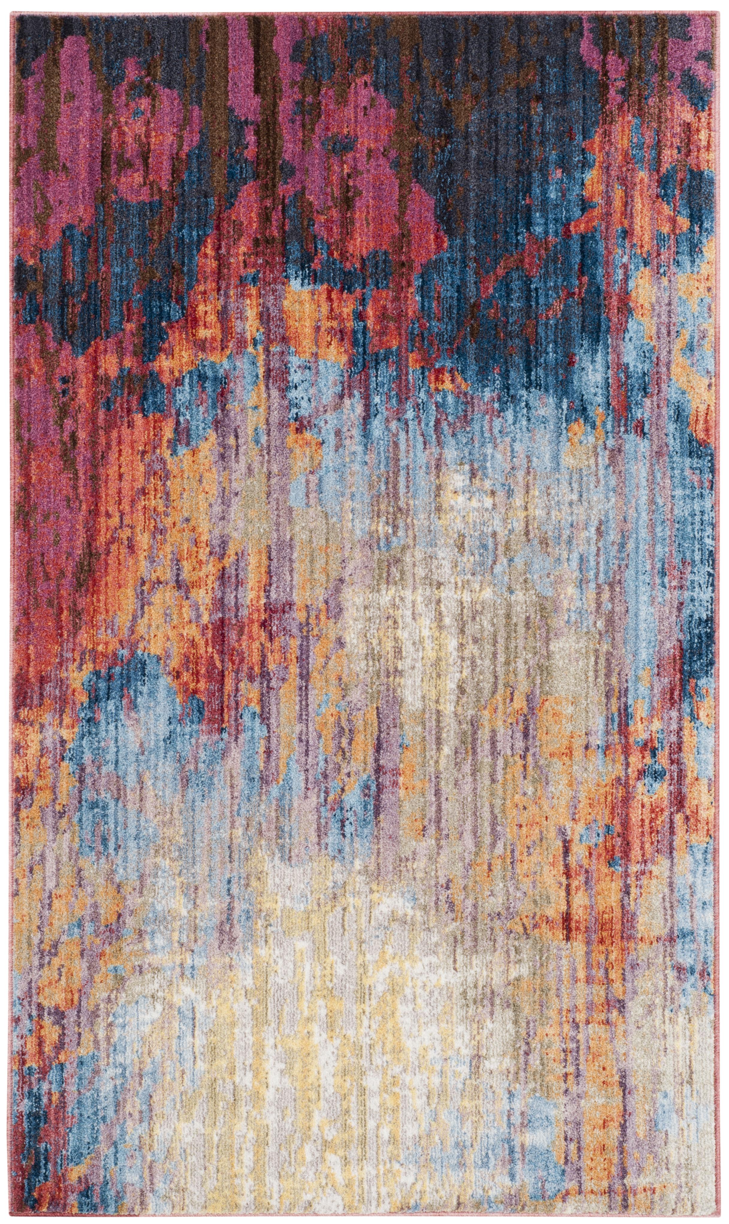 Tapis de salon d'inspiration vintage bleu et rouille 120x180