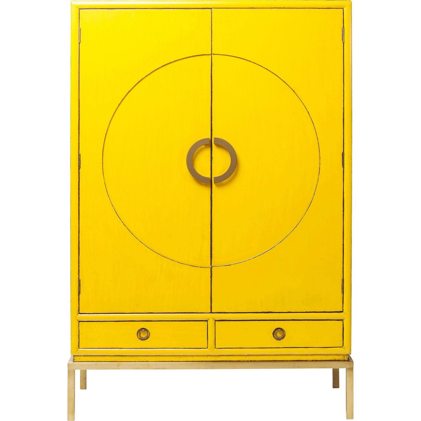 Armoire 2 portes 2 tiroirs en peuplier jaune (photo)