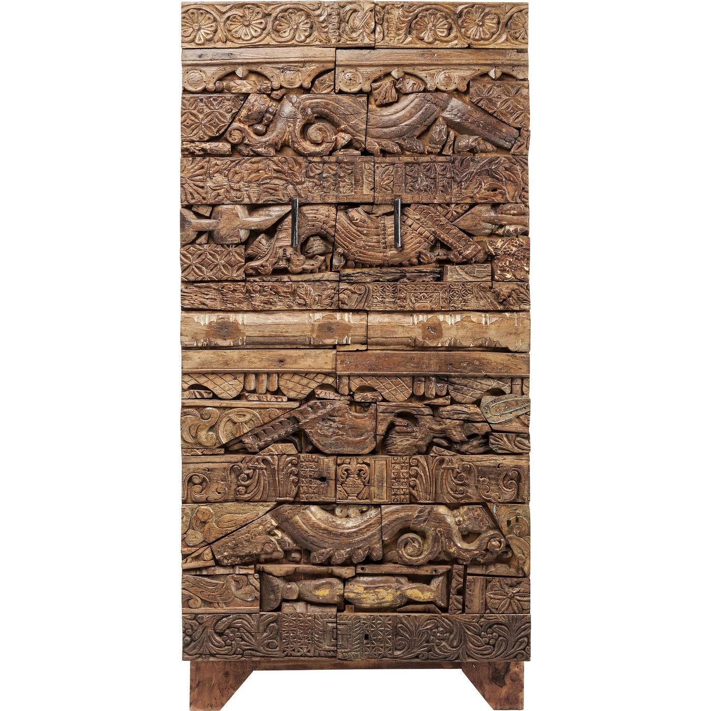 Armoire 2 portes en manguier massif sculpté