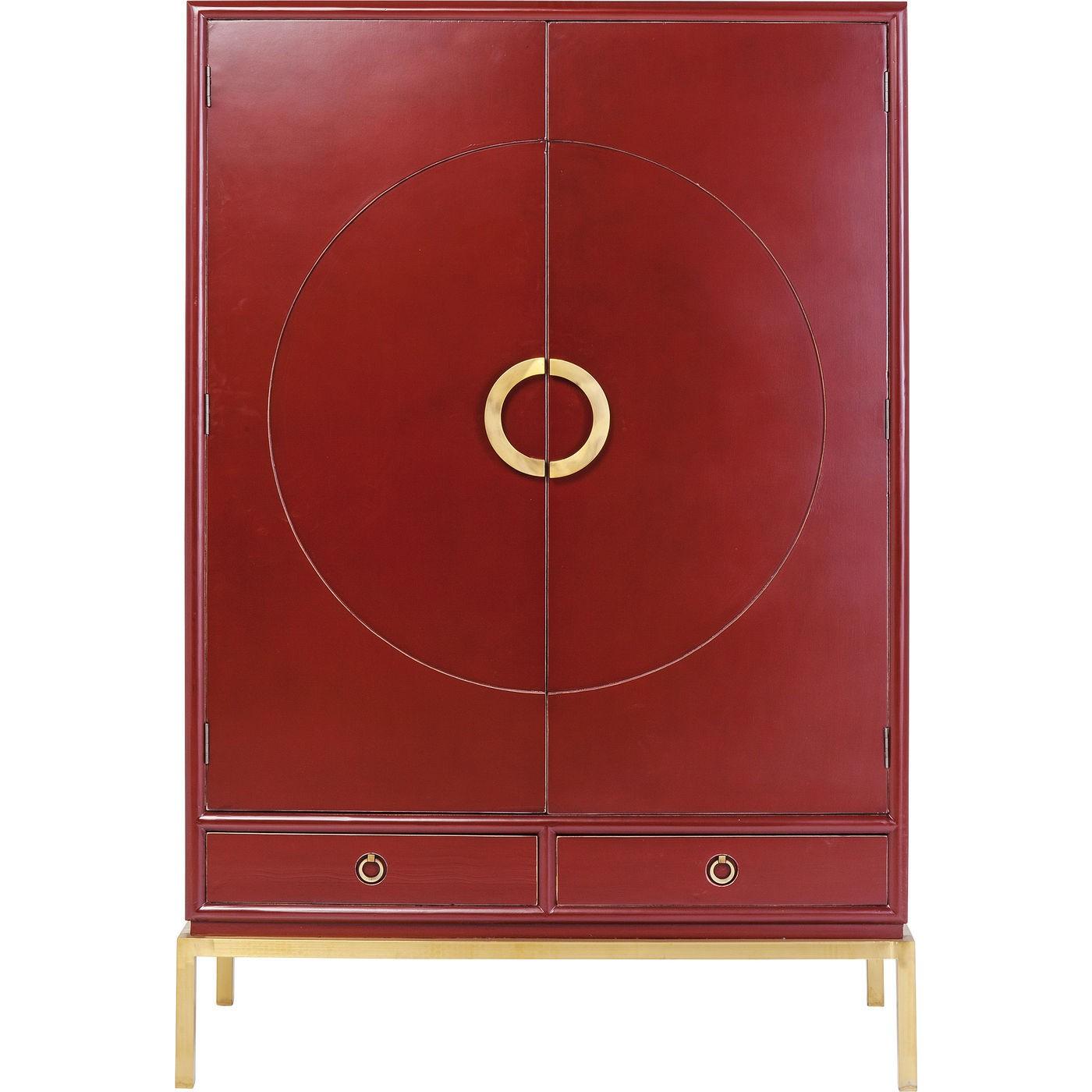 Armoire 2 portes 2 tiroirs en peuplier rouge (photo)