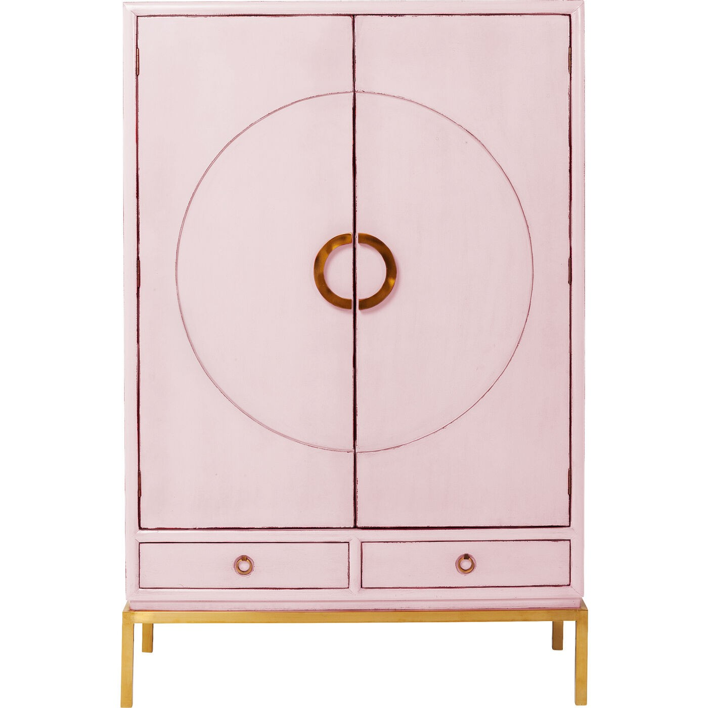 Armoire 2 portes 2 tiroirs en peuplier rose (photo)