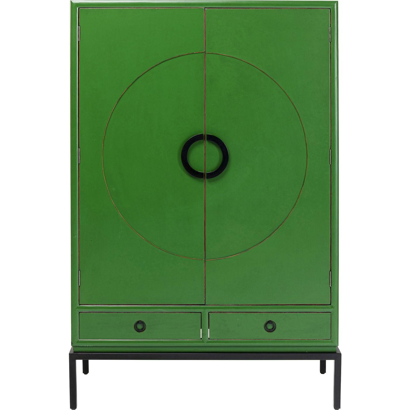 Armoire 2 portes 2 tiroirs en peuplier vert (photo)