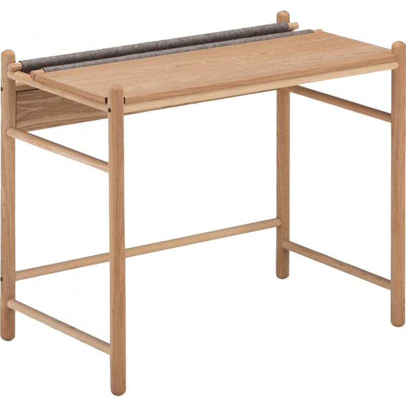 Bureau en bois de frêne et feutrine gris