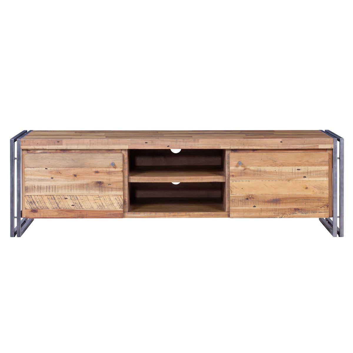 Meuble TV bois et métal 165 cm