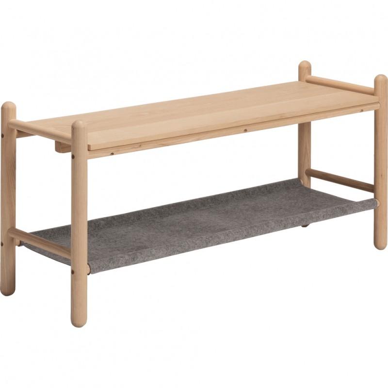 Bout de lit en bois de frêne et feutrine gris