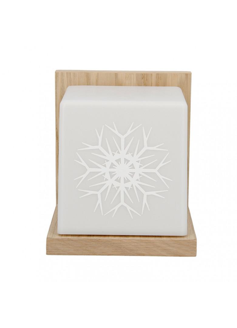 Applique cubique blanche et bois